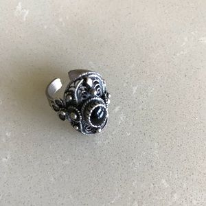 Vintage Floral Sterling Silver 925 Onyx Ring